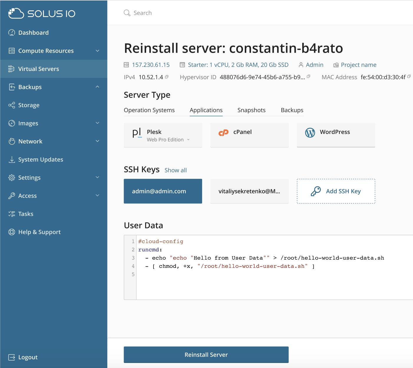 Reinstall server